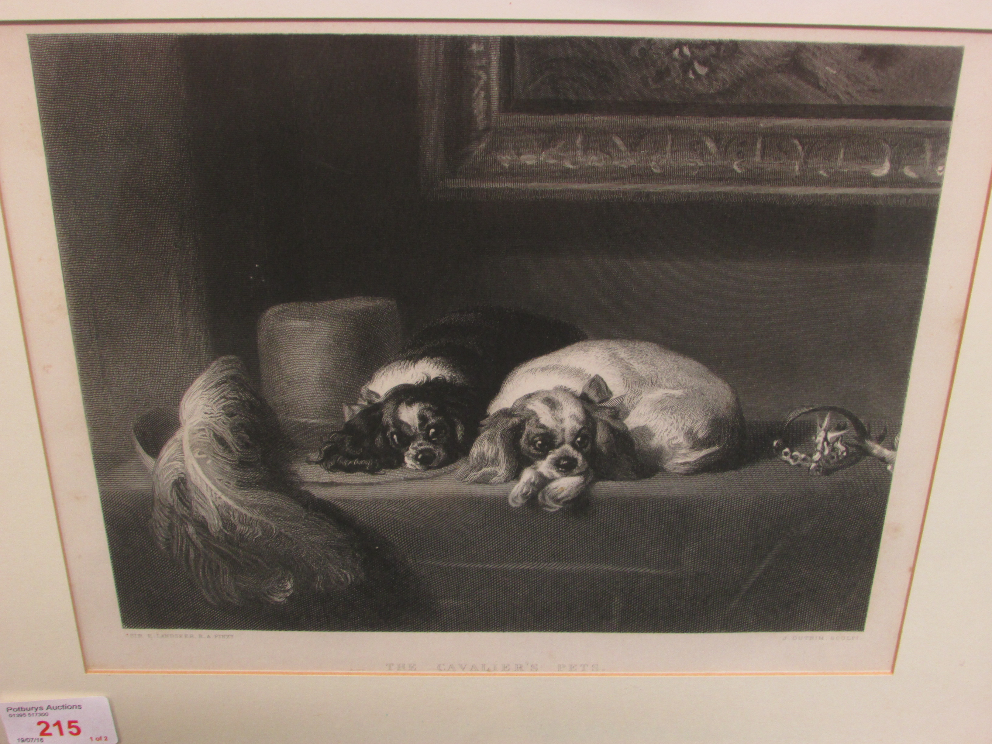 Lot 215 - Two 19th century engravings - 'The Cavalier's Pets', J Outrim after Sir Edward Landseer (21cm x 26.