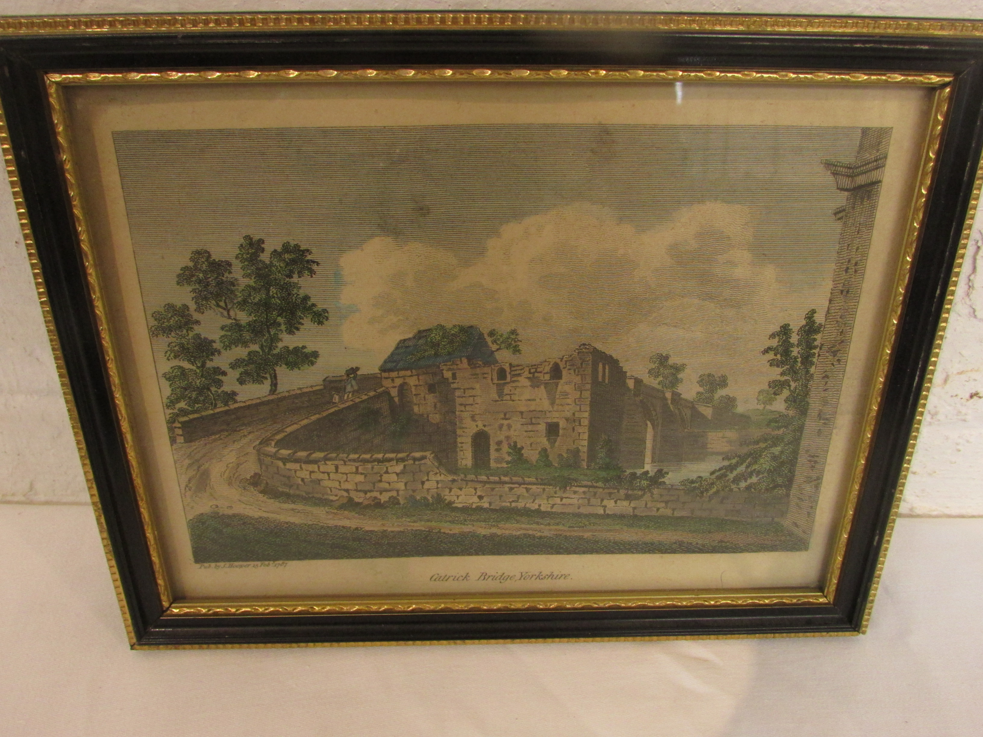 Lot 226 - After S Hooper - four 18th century tinted engravings of Yorkshire scenes 'Catrick Bridge', '