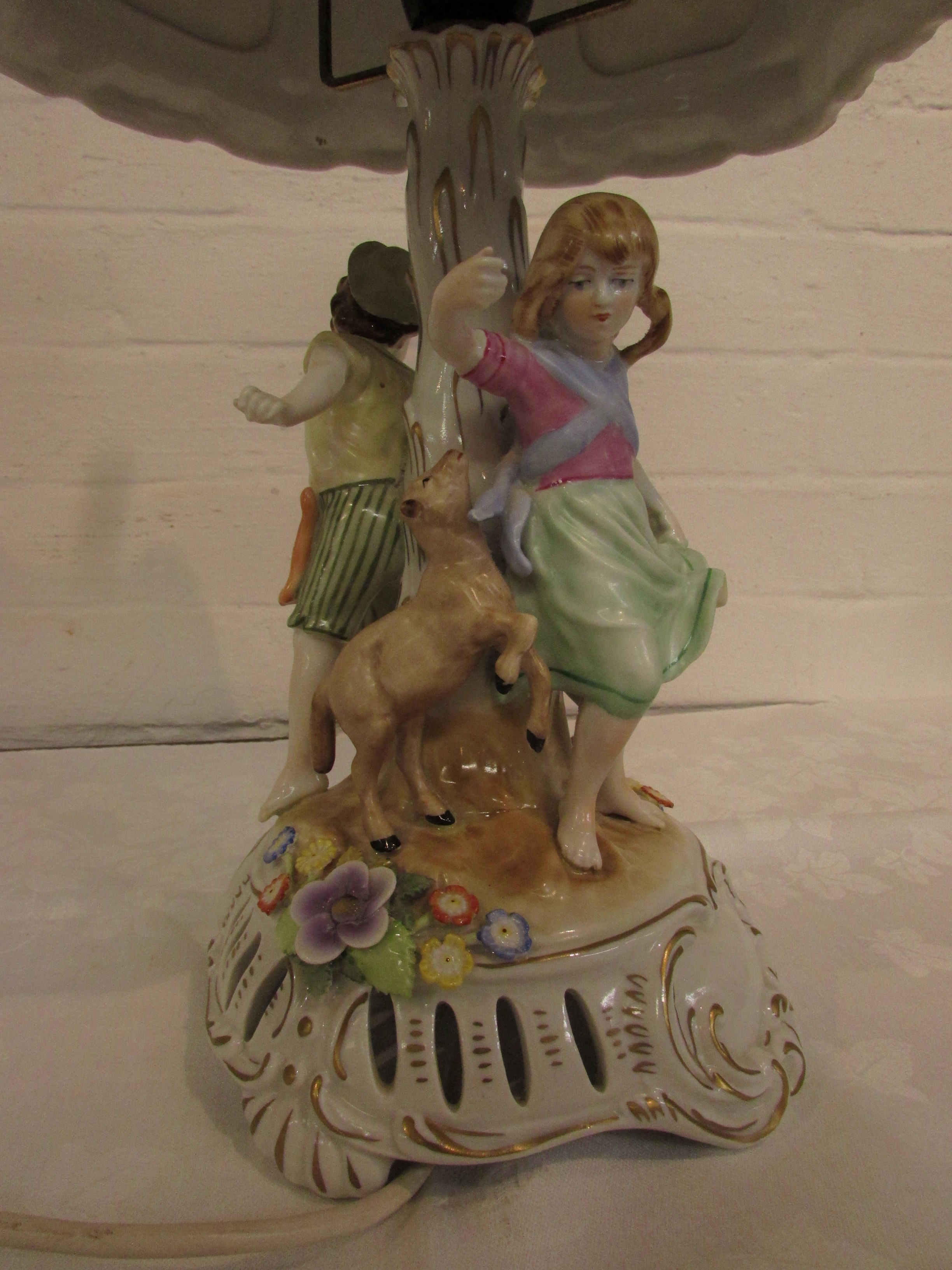 Lot 1 - German porcelain figural table lamp with lithophane shade, the column adorned with boy and girl with