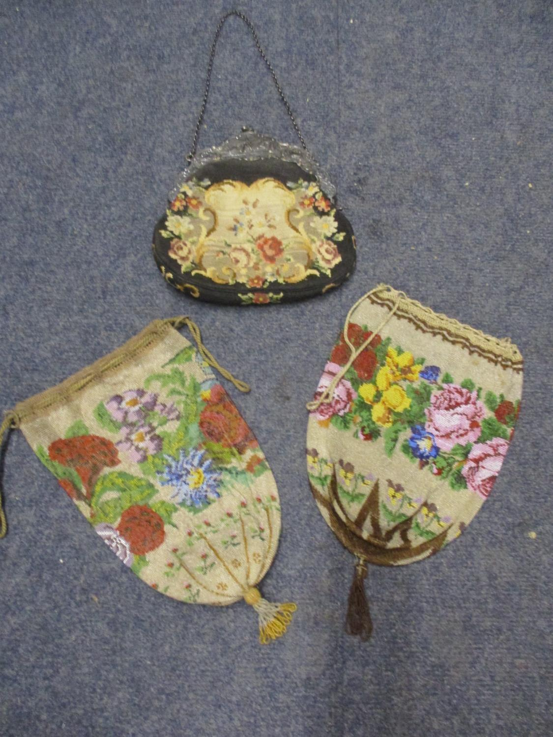 Two mid 20th century oriental style parasols depicting tulips, together with an early 20th century - Image 2 of 4