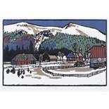 """Auktionslos 483 - Rudolf Manuwald """"Donovaly"""" / Halden in Hammer. Ohne Jahr / 1959.  Wood cut in colours und"""