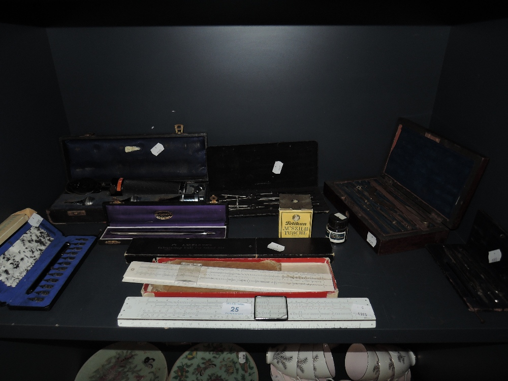 Lot 25 - A selection of desk top office stationary including geometry set and ink nibs