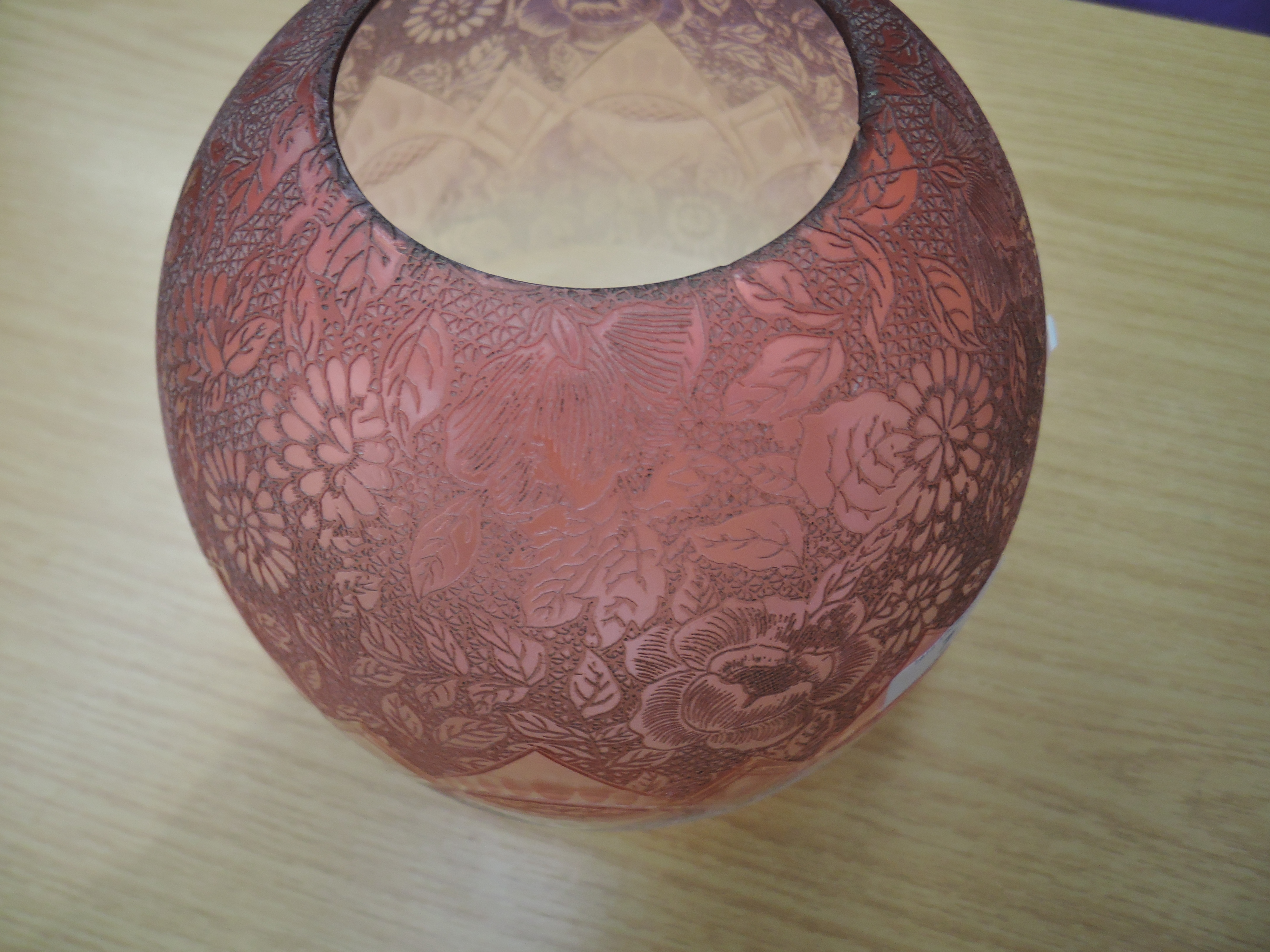 Lot 7 - A Victorian gas lamp light shade colour fade from ruby to clear with elaborate etched design