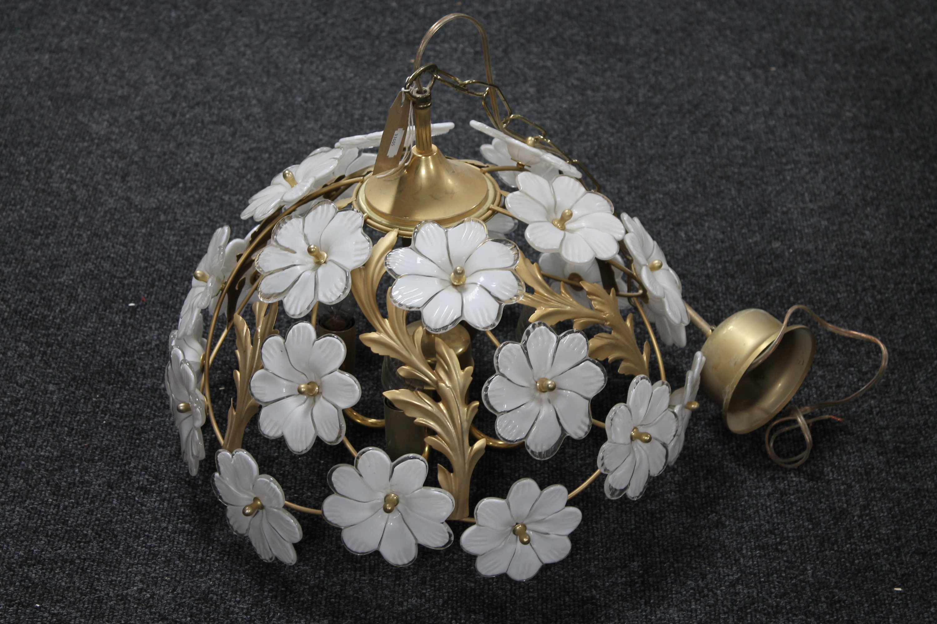 Lot 9 - A contemporary brass light fitting with glass flower decoration