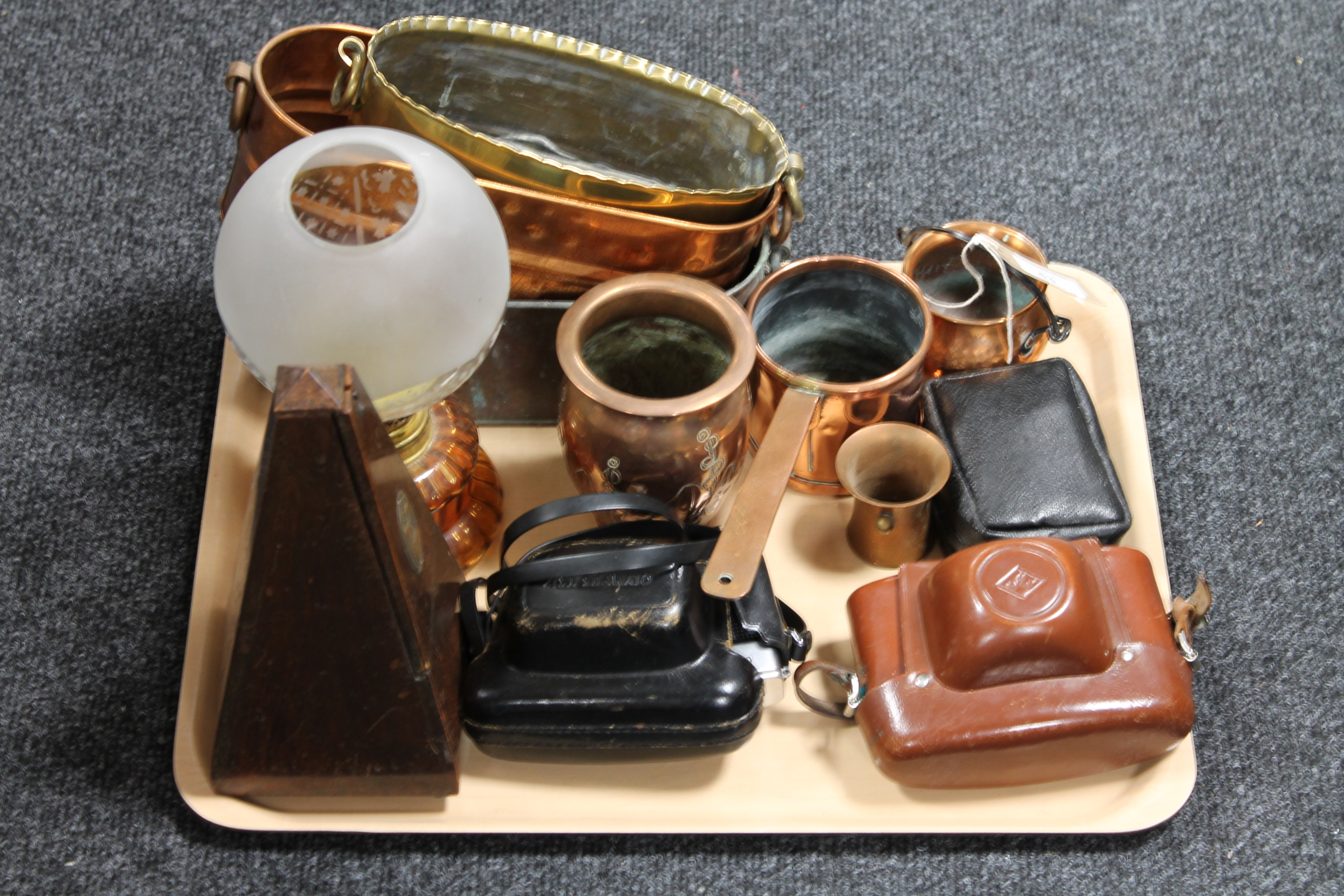 Lot 43 - A tray of cameras, metronome, copper and brass planters.