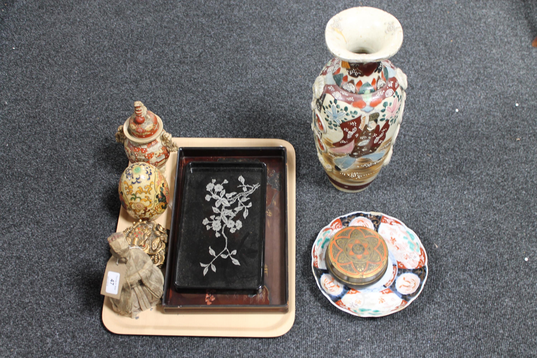 Lot 47 - A tray of Oriental china, Imari plate, Kutani vase,