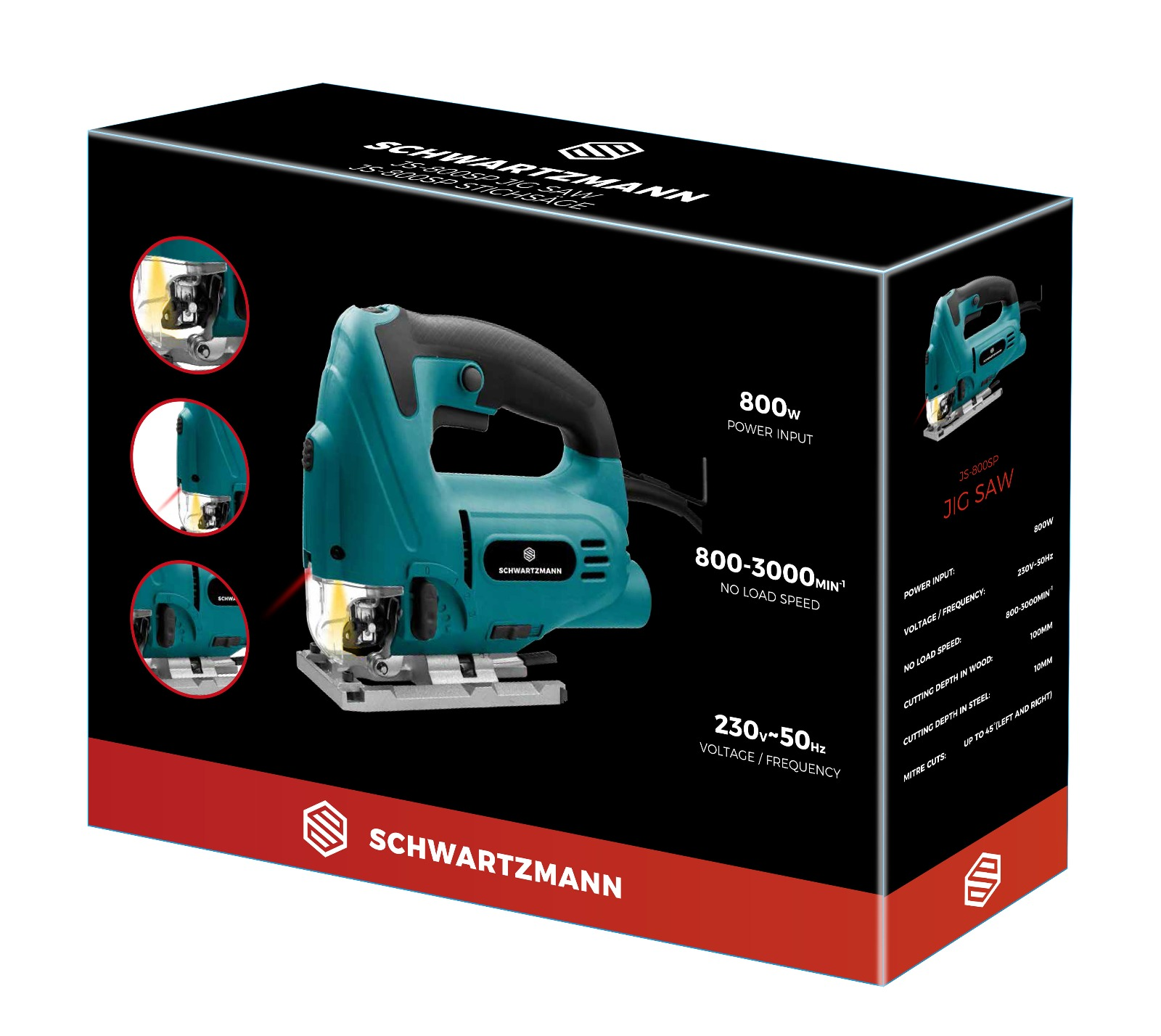 Lot 18069 - V Brand New 800w JS-800SP Jigsaw - Speed Regulator - Inspection Guard - Dust Extractor - Laser Light