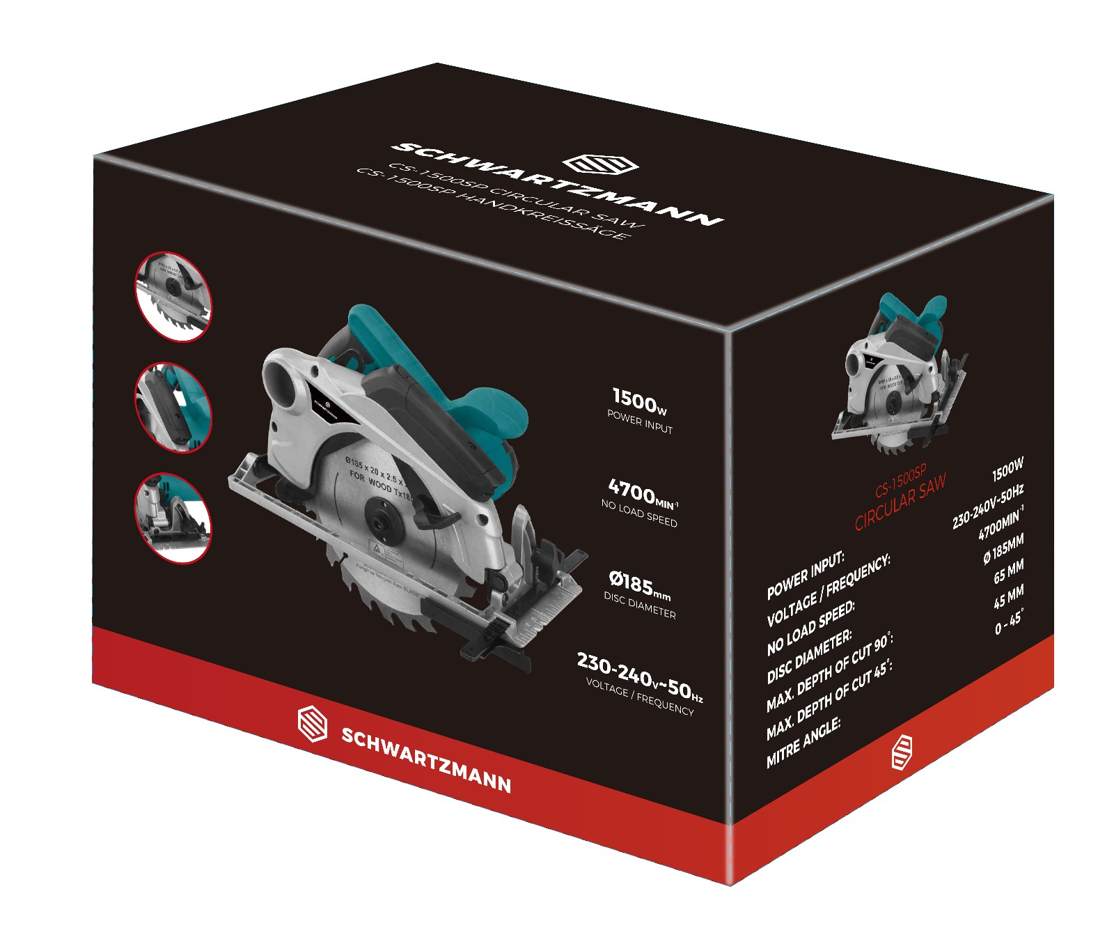 Lot 18104 - V Brand New 1500w CS1500SP Circular Saw With laser Guide - Dust Extraction - 185mm Disc Diameter -