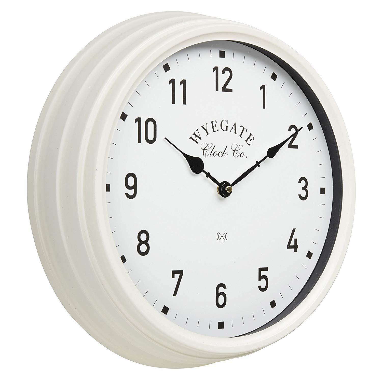 Lot 18023 - V Brand New Big Wyegate Garden/Indoor Clock (Radio Controlled) - 39cm - Cream - RRP £24.99 -