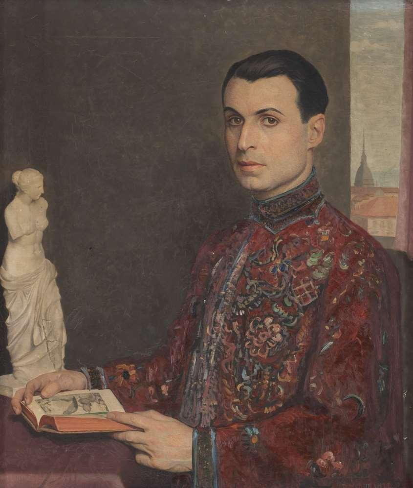Lotto 304 - DOMENICO MARIA DURANTE (Murazzano 1879 - Turin 1944) PORTRAIT OF YOUTH ERUDITE Oil on canvas, cm. 70