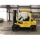 2005 HYSTER 5,500-LB., MODEL: H55XM, LPG, LEVER SHIFT TRANSMISSION, PNEUMATIC TIRES, 5,756 HRS