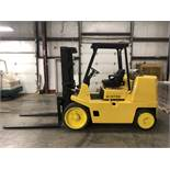 2003 HYSTER 15,500-LB. CAPACITY FORKLIFT, MODEL: S155XL, S/N: B024V02271A, LPG, SOLID TIRES, 2-SPEED