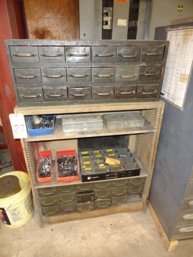 Lot 27 - LOT CONSISTING OF: drawers & shelves w/metric nuts & bolts