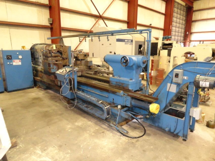 """Lot 53 - CNC HOLLOW SPINDLE LATHE, MORI SEIKI MDL. LL8B-2500, Fanuc 11T CNC control, 51.6"""" sw. over bed, 29."""
