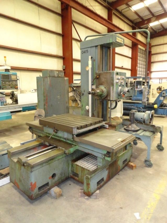 "TABLE TYPE HORIZONTAL BORING MILL, WOTAN 3"" MDL. B75-M, new 1969, 4-way bed, 32"" x 39"" built-in - Image 2 of 12"