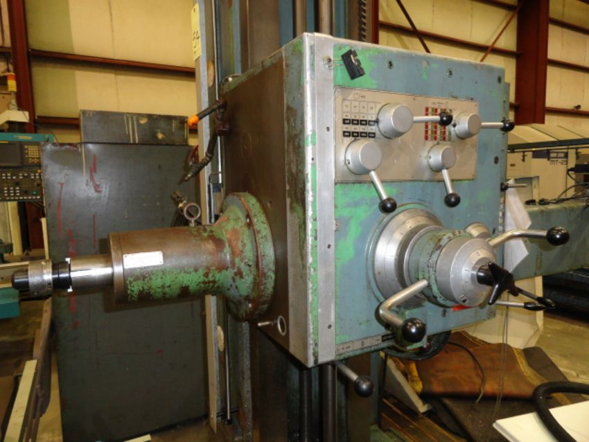 "TABLE TYPE HORIZONTAL BORING MILL, WOTAN 3"" MDL. B75-M, new 1969, 4-way bed, 32"" x 39"" built-in - Image 8 of 12"