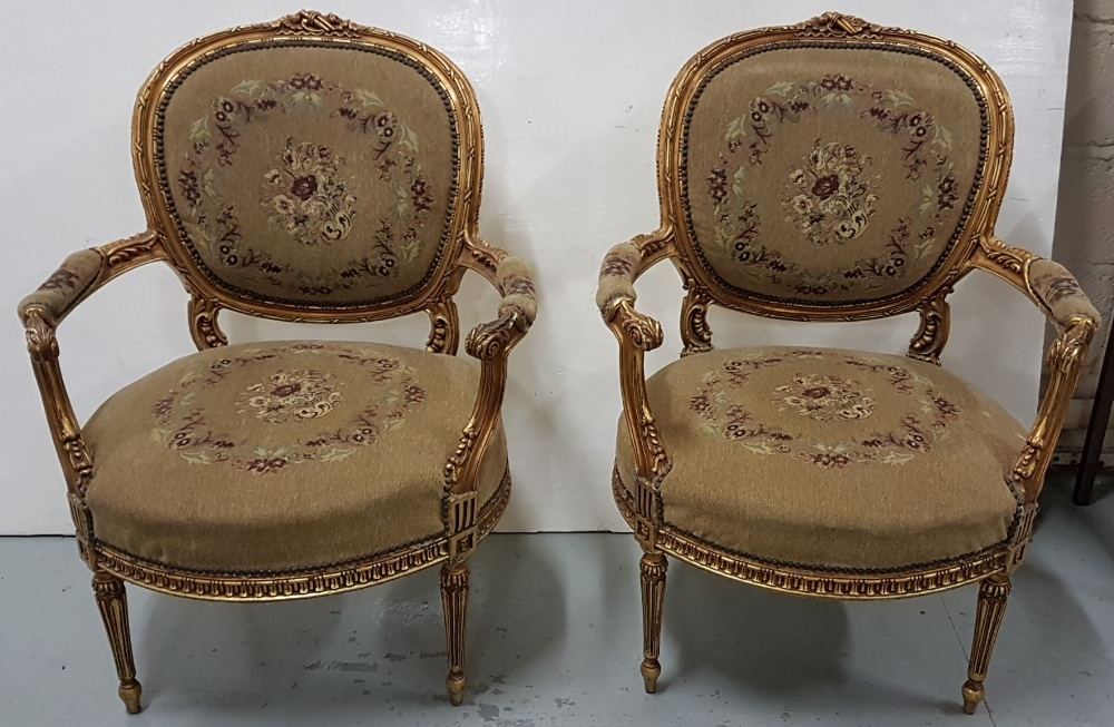 Lot 27 - Matching Pair of Carved Gilt Wood Framed Drawing Room Chairs, with floral tapestry padded backs