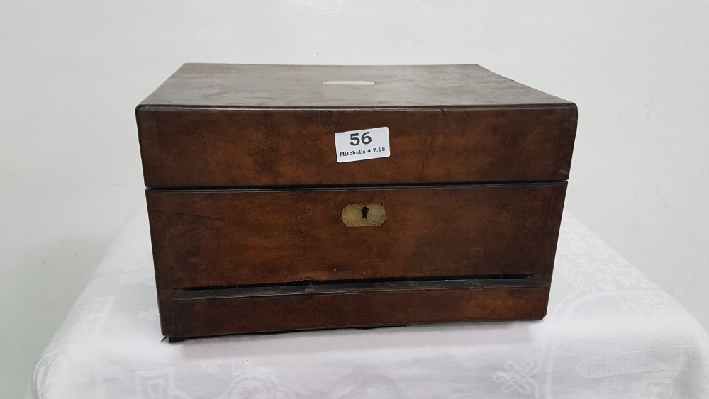 Lot 56 - Mid 19th C walnut travelling vanity case, with original cosmetic pots, perfume bottles, jewellery
