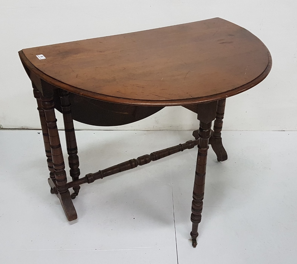 """Lot 6 - Drop Leaf Walnut Sutherland Table, turned legs, oval ends, 34""""w (extends to 40"""")"""