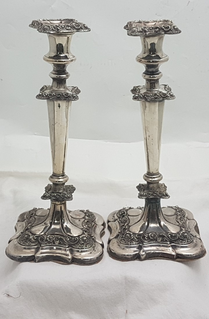 """Lot 55 - Matching Pair of Ornate Silver Plate Candlesticks, on weighted bases, stamped """"Denmark"""" 11.5""""h"""