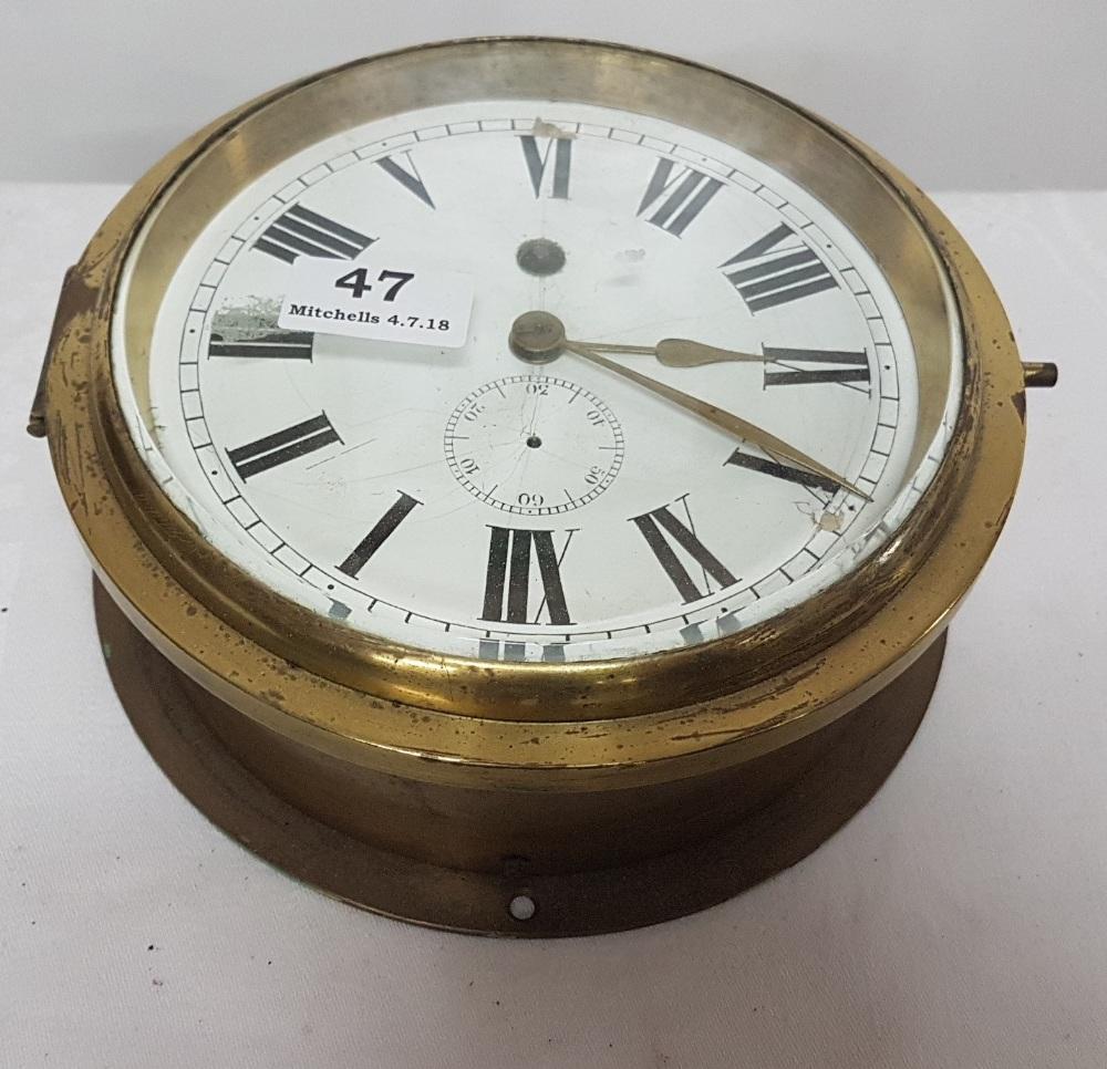 Lot 47 - Brass Ships Bulkhead Clock encased in heavy marine brass circular case, stamped Instraiuill F555,
