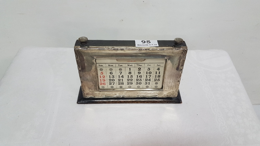 Lot 95 - Late 19th C adjustable date calendar, with hallmarked Birmingham silver front panel, (not
