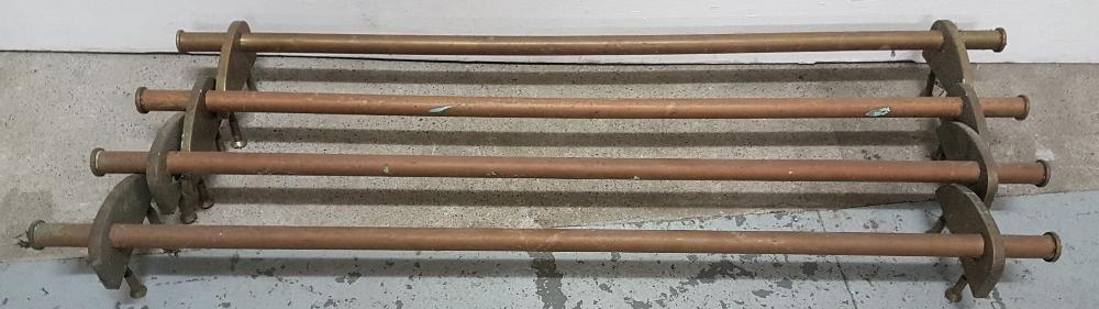 "Lot 67 - 4 long copper rails with brass mounts, 41""l"