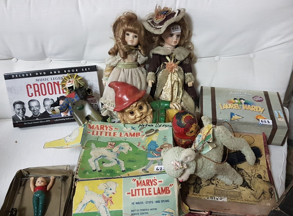 "Lot 623 - Assorted musical and toy lot – ""Crooners DVD and book set"", ""Marys Little Lamb"", dolls etc"