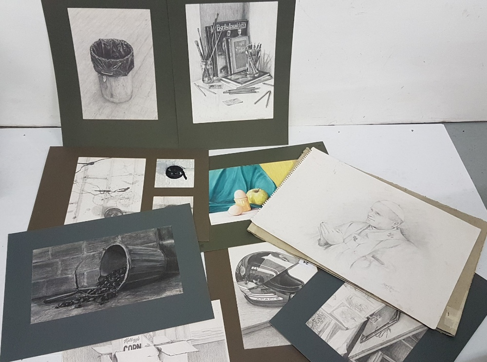 Lot 24 - Portfolio of art work and drawings by Ms Callaghan – contemporary still lifes, motorbike helmet,