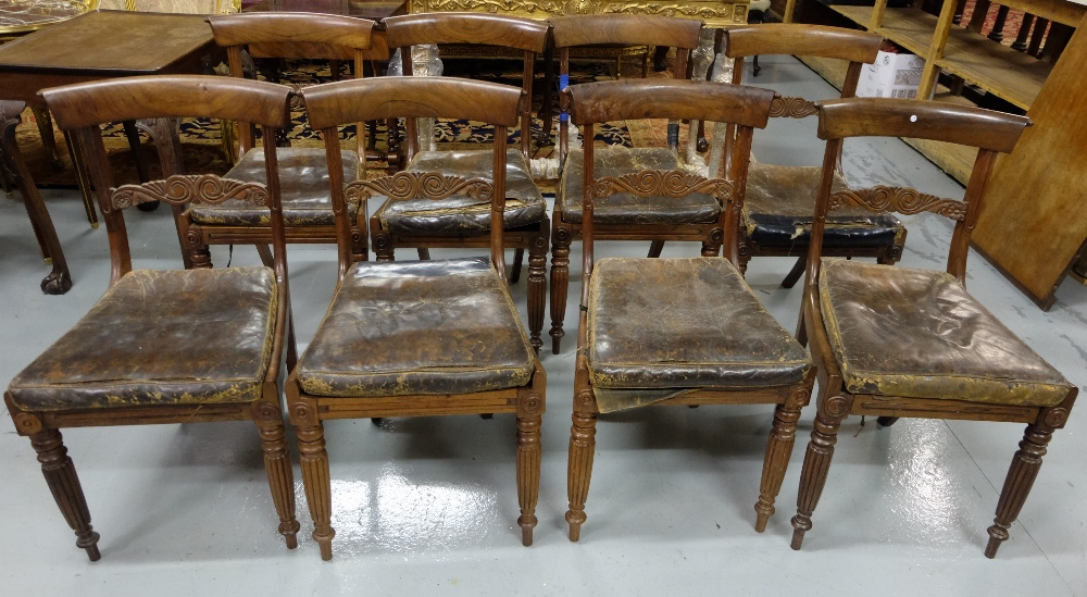 Lot 7 - Matching set of 8 Rosewood William IV dining chairs, scrolled top back rail over decorative centre