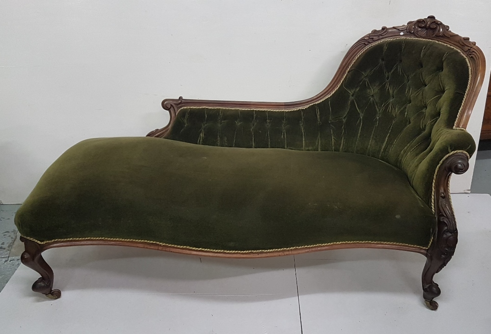 Lot 11 - Victorian mahogany framed Chaise Longe, carved and scrolled back and cabriole legs, covered with