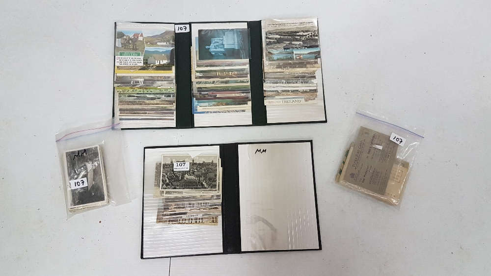 Lot 107 - Collection assorted old Postcards in 2 albums – European and some of Ireland