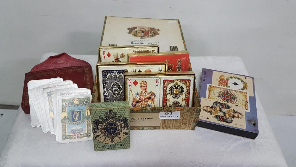 "Lot 61 - 7 packs of Playing Cards incl. twin pack ""The Worshipful Company"" 1922 Irish State commemorative"