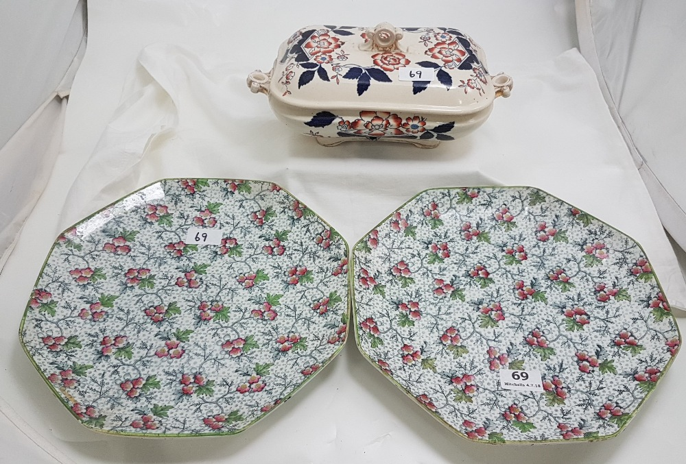 """Lot 69 - Pair of octagonal shaped English China Wall Plates, floral 12"""" dia & tureen with lid (repaired) (3)"""