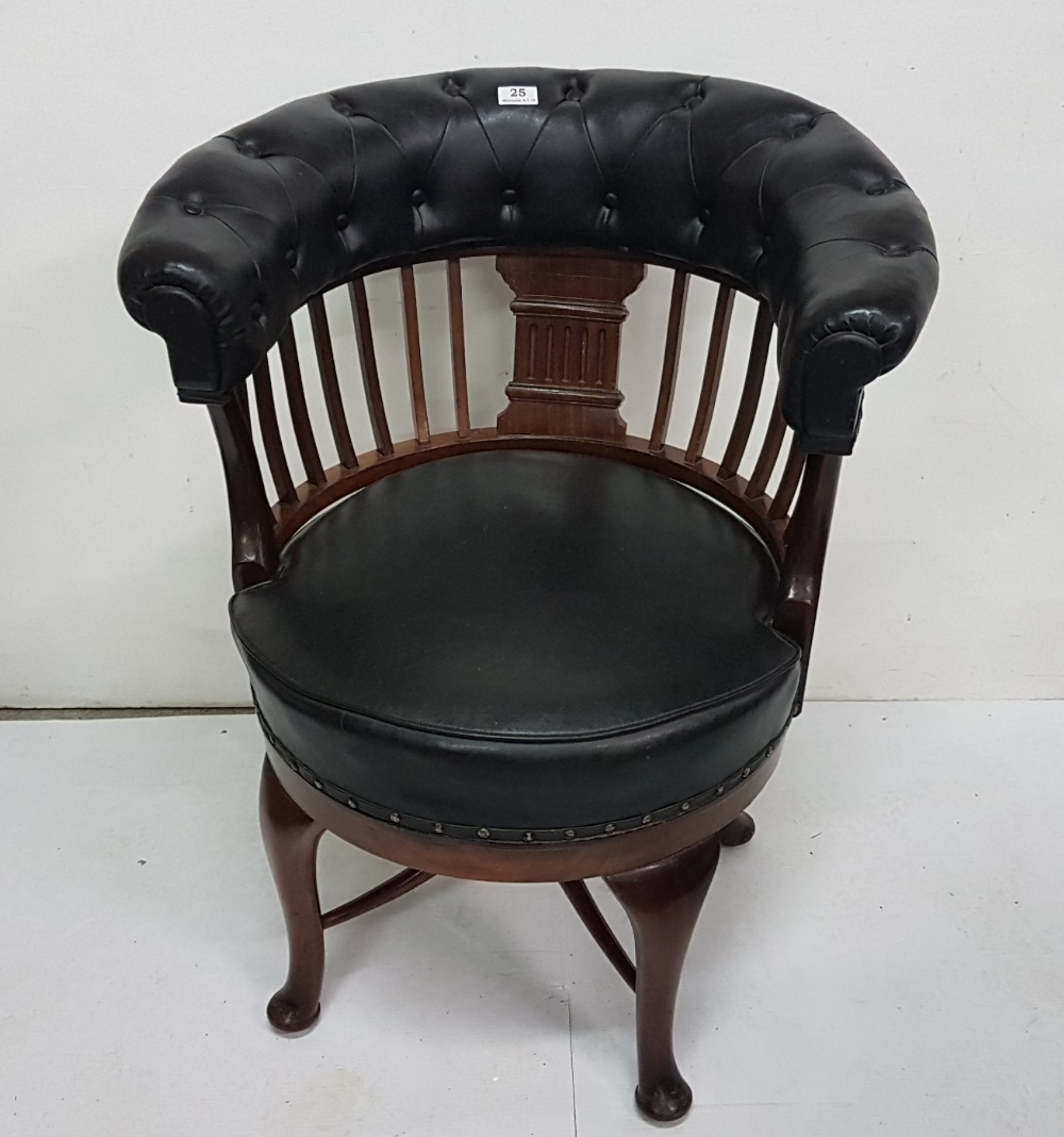Lot 25 - Late 19th C swivel, bow shaped library chair with black leather covered padded top and similar seat,