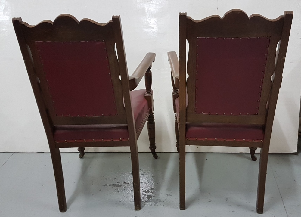 Lot 1 - Matching Pair of Oak Framed Armchairs, on turned front legs, wine leatherette seats and back (2)