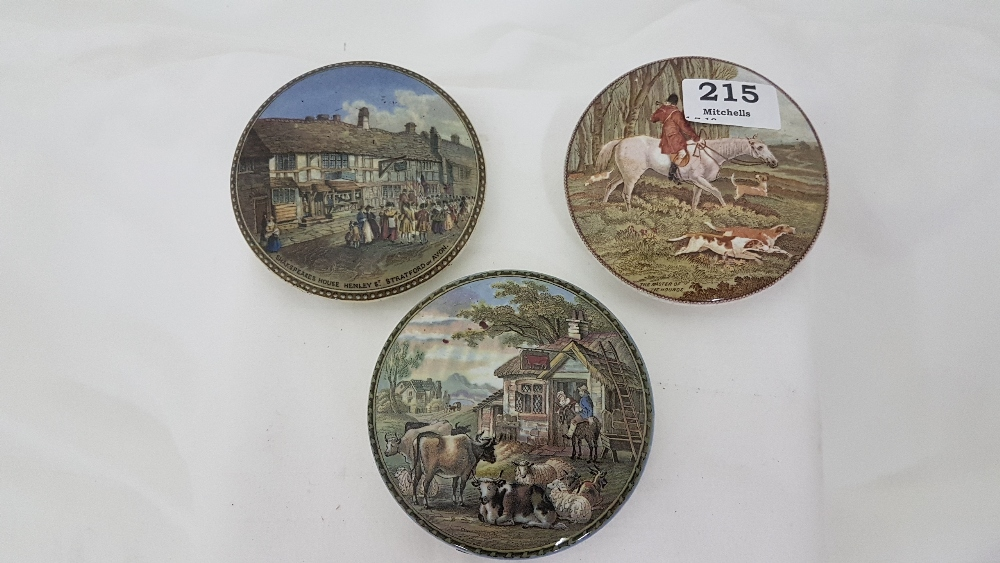 """Lot 215 - 3 meat paste lids, """"Shakespeare's House"""", The Master of the Hounds & agricultural landscape (3)"""
