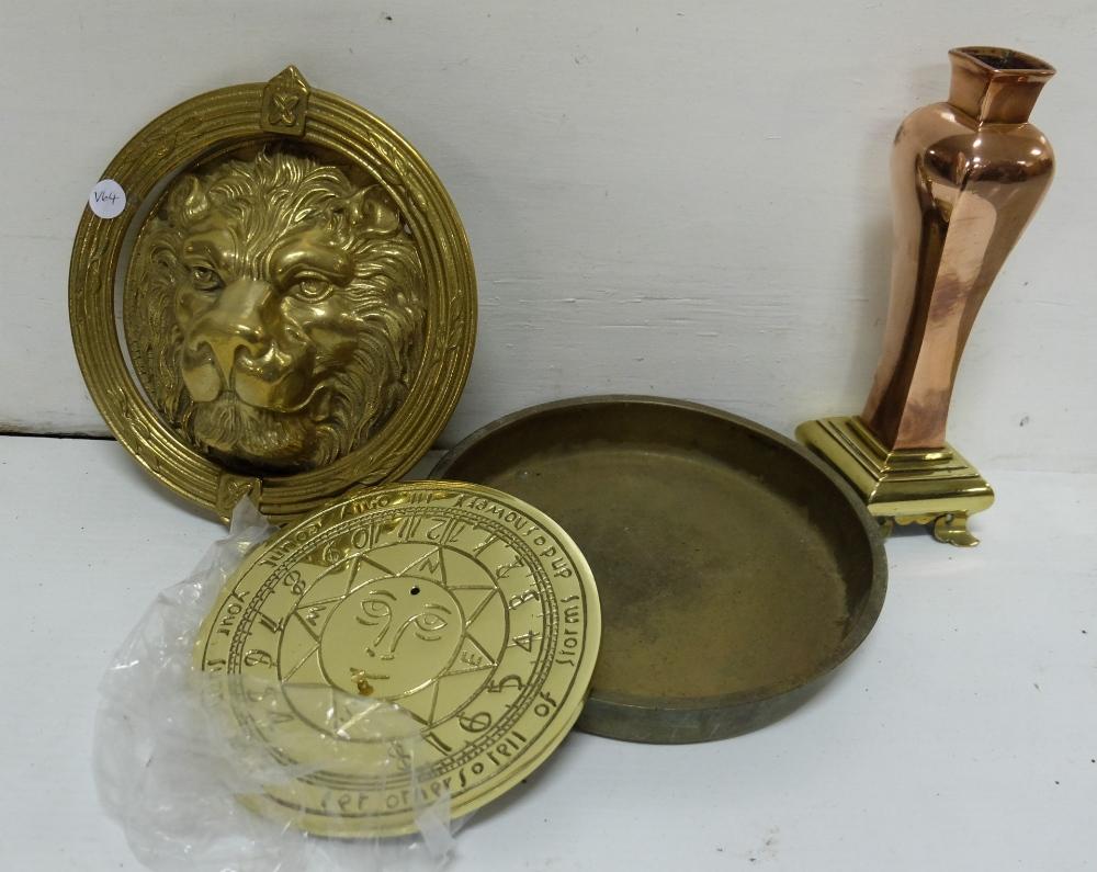 Lot 34 - 3 brass items, brass pan stamped NEWMAN, DUBLIN, modern sundial, lion door knocker and Art Nouveau