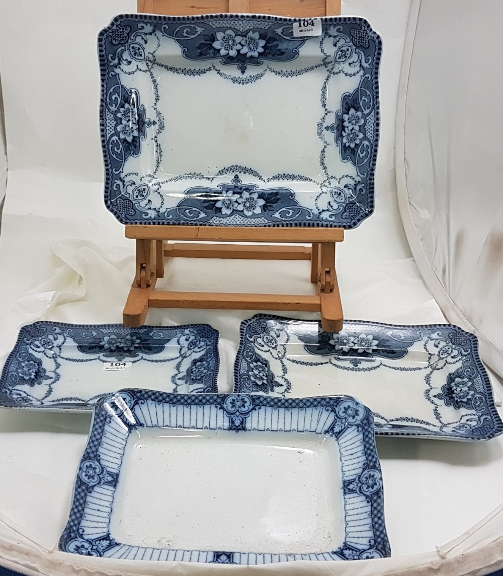 Lot 104 - Set of 3 graduated rectangular shaped Staffordshire plates with blue and white pattern + a similar