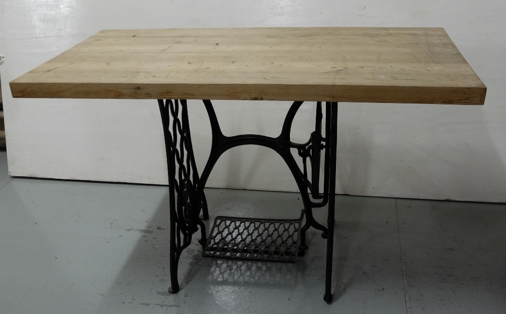 Lot 33 - Metal Sewing Machine Base with rectangular oak top, 4ft x 2ft