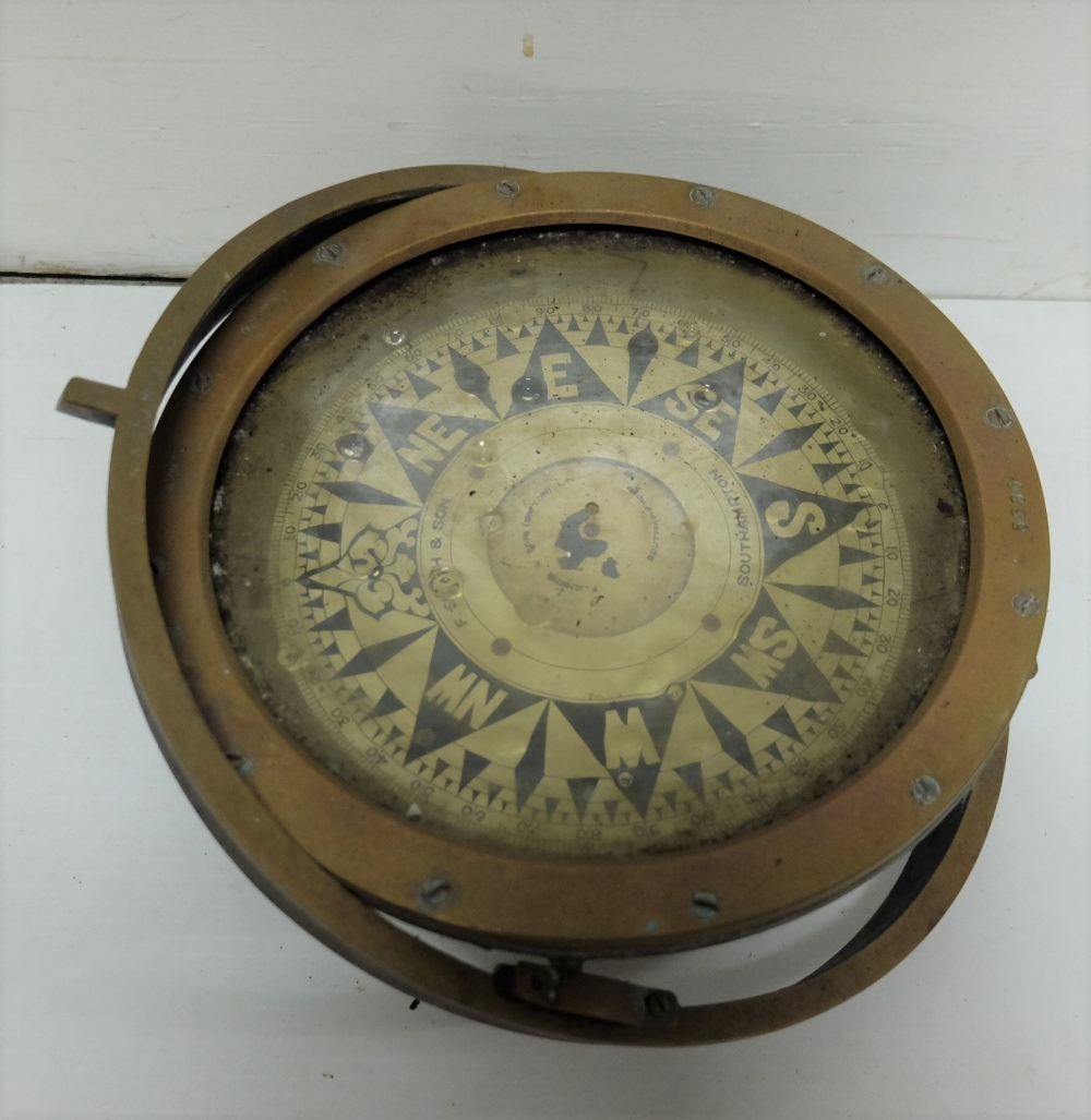 Lot 38 - Brass Framed Ship's Compass, stamped Kelvin White Boston, the dial stamped F Smith & Sons