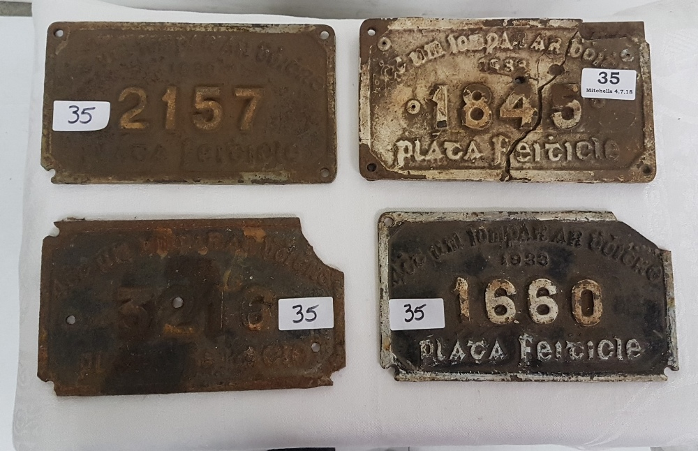 "Lot 35 - 4 x 1933 Metal Transport Plaques, ""Plata Feiticle"", all numbered, each 8"" x 5"""