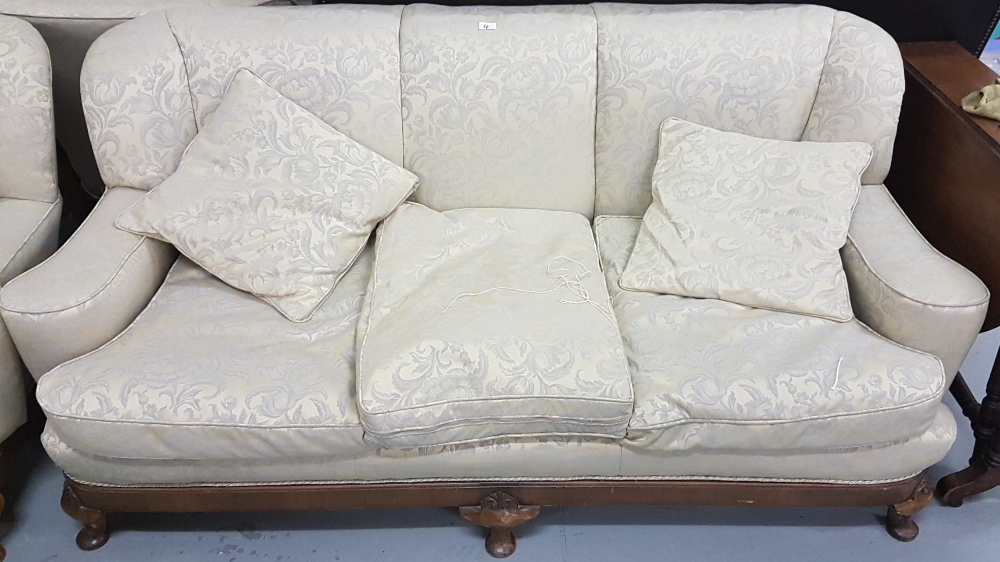 Lot 4 - Three Piece Sitting Room Suite, on a walnut base with Queen Ann feet, the feathered cushions covered