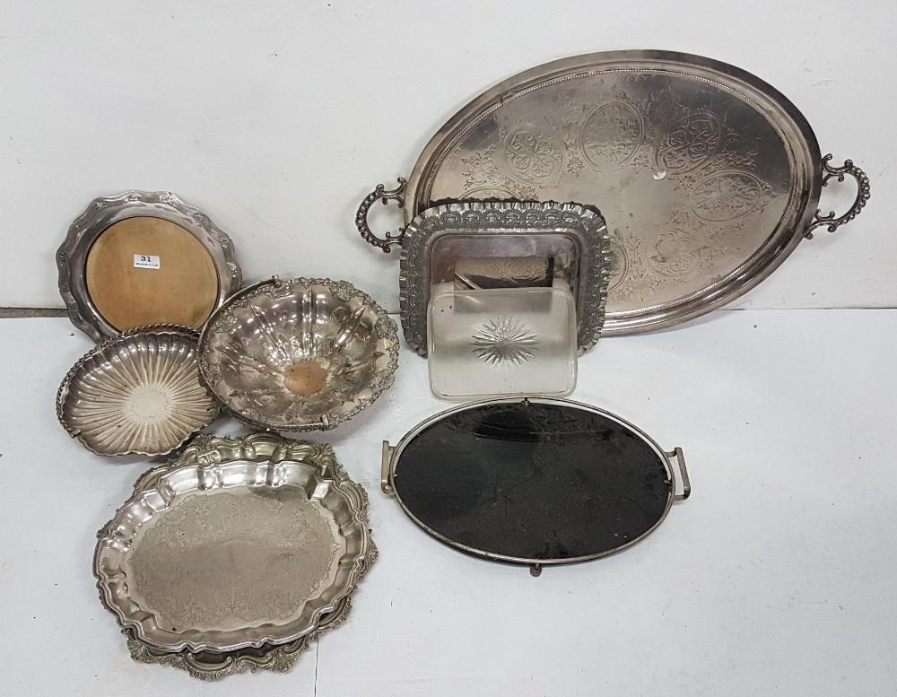 "Lot 31 - 7 x silver plate trays and dishes, incl. a 24"" long two handled tray (8)"