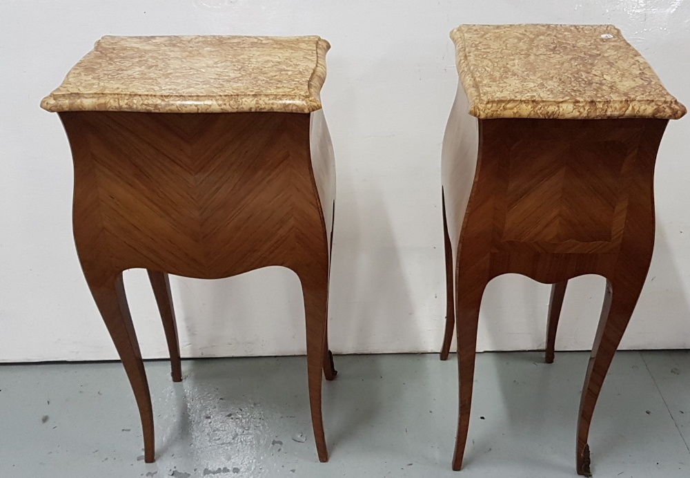Lot 26 - Matching Pair of French Kingwood Louis VI Bedside Cabinets, each with 2 drawers, on sabre legs
