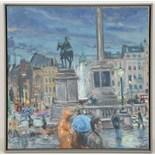 HENRY KONDRACKI (BRITISH, b.1953), 'TRAFALGAR SQUARE', contemporary Scottish school, oil on