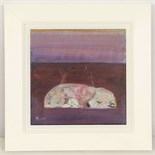 LESLIE BURR (BRITISH), 'SEA BEARS - VIOLET LIGHT', contemportary Scottish school, signed, (29.5 x