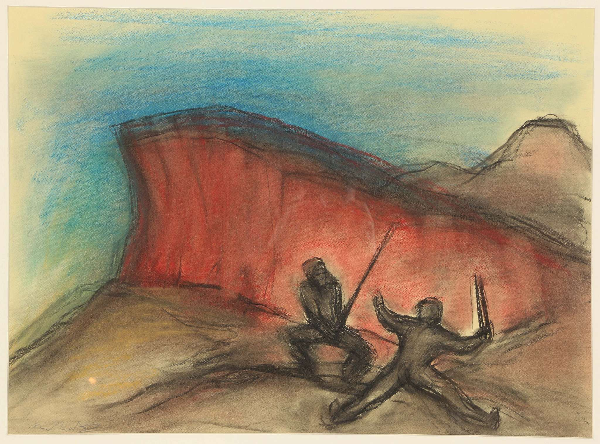 Lot 2 - ALEXANDER SANDY MOFFAT RSA, OBE (BRITISH, b.1943), 'THE CONTEST', CONTEMPORARY PASTEL ON PAPER, (