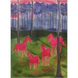 THAI PING WONG, 'PINK HORSES IN AN ENCHANTED FOREST', contemporary watercolour on paper, (42 x