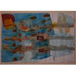 ALISON HARPER (BRITISH b.1964), 'RIVER', 2009, contemporary Scottish, collage/mixed media on